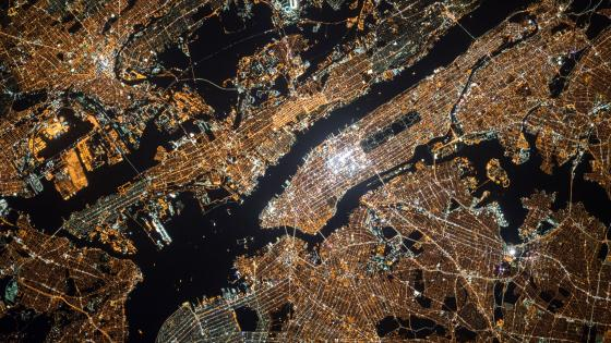 NYC Night Lights from the International Space Station wallpaper