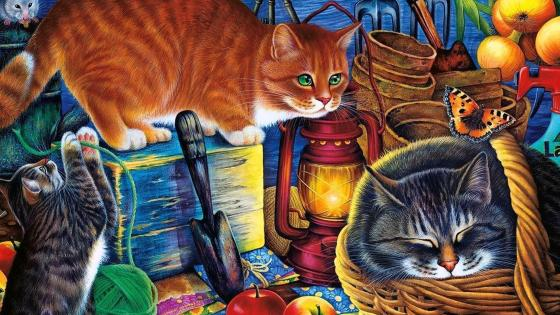 Cats Painting wallpaper