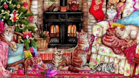 Cats With Christmas Tree And Gifts Artistic Drawing wallpaper