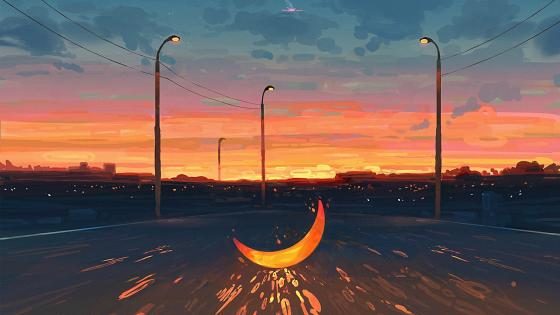 Yellow Moon at Road  wallpaper