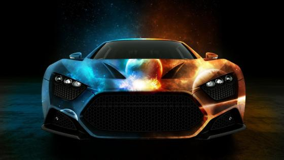 Burning Sports Car  wallpaper