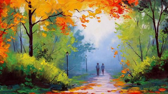 Autumn Stroll Painting wallpaper