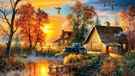 Autumn Mist Painting wallpaper