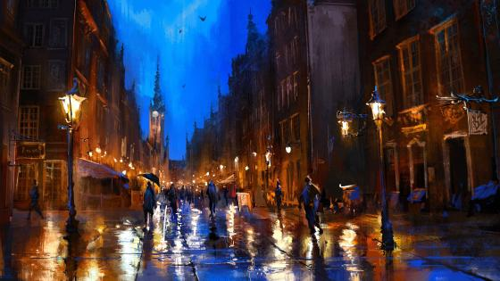 Walking In The City By Night Painting Art wallpaper