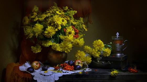 Bouquet painting art wallpaper