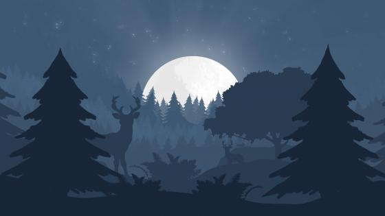 Deers in the night forest minimal landscape wallpaper