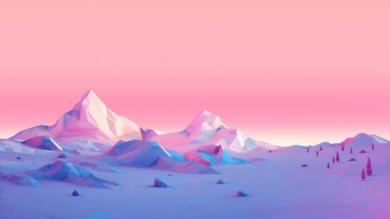 Pink low-poly landscape wallpaper