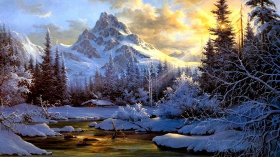 Landscape Sky Snow Artistic Painting wallpaper