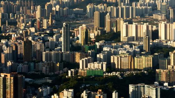 Hong Kong Tower Blocks at Dusk wallpaper