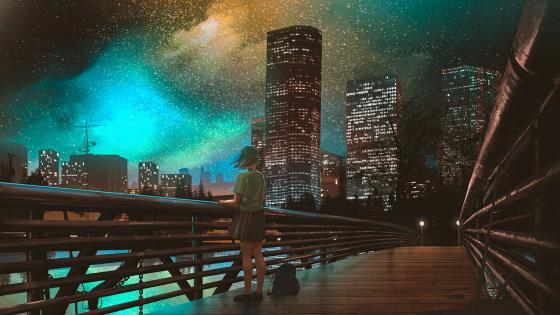 Lone girl in the night city anime art wallpaper