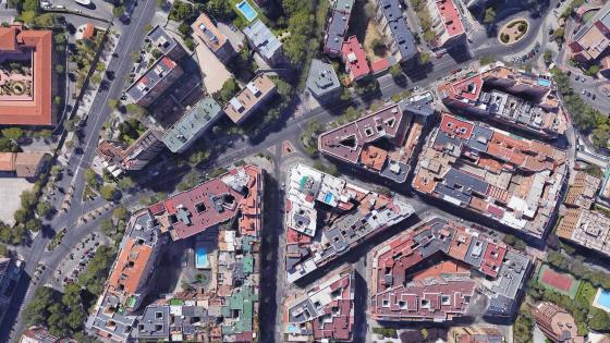 Satellite Image of Madrid Rooftops wallpaper
