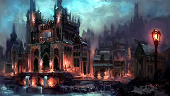 Ancient City At Night Fantasy Painting wallpaper