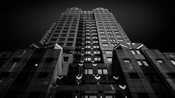 Monochrome building wallpaper