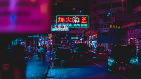 Hong Kong night street wallpaper