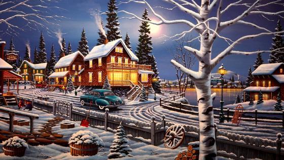 Winter Village Painting wallpaper