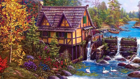 Mill By The Stream Painting wallpaper