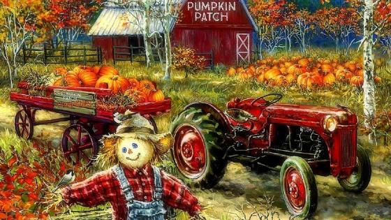 Pumpkin Patch Painting wallpaper