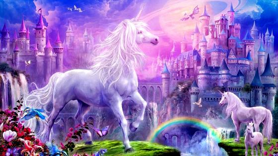 Fantasy Castle And  Unicorns Painting wallpaper