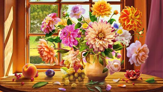 Autumn Bouquet Painting wallpaper