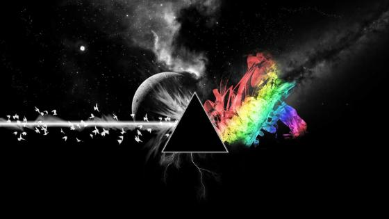 Rainbow flame and triangle wallpaper