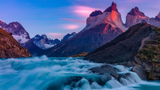 Torres del paine national park waterfal wallpaper