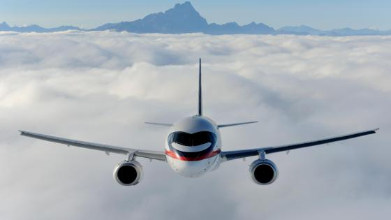 Sukhoi SuperJet 100 Flying off the Coast of Italy near Turin wallpaper
