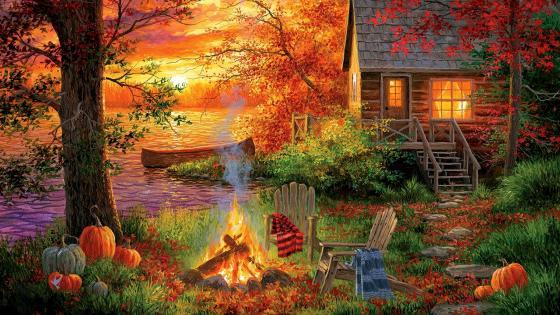 Sunset Serenity Painting wallpaper