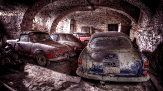 Plymouth Barracuda in an abandoned cellar wallpaper