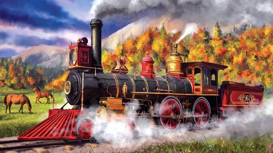 Full Steam Ahead Painting wallpaper
