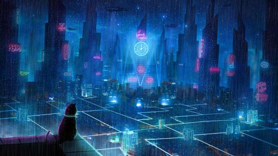 Cat in a futursitic city wallpaper