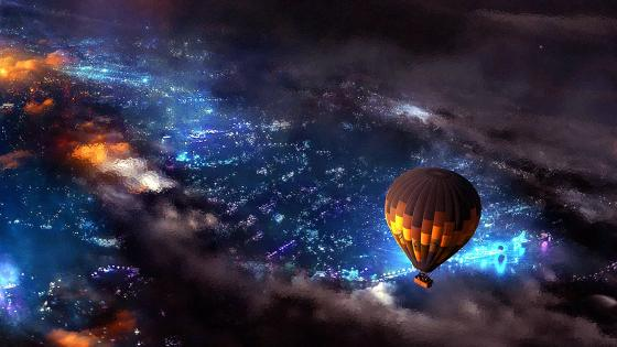 Air Balloon In A Glass Night Sky wallpaper