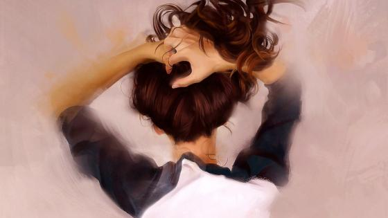 Girl Hair Hands Painting wallpaper