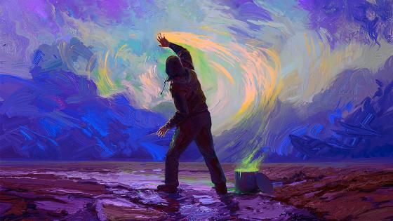 Man paints the sky wallpaper