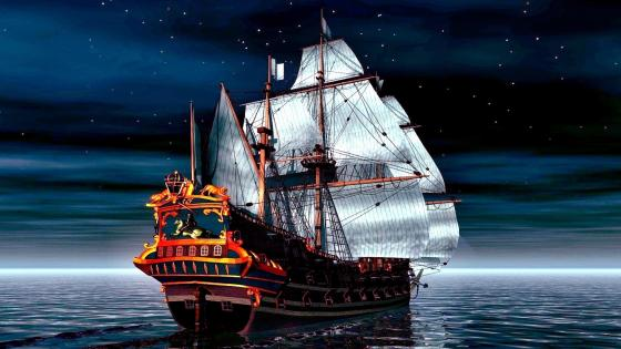 Masted ship wallpaper