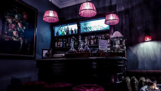 Bar in twilight wallpaper