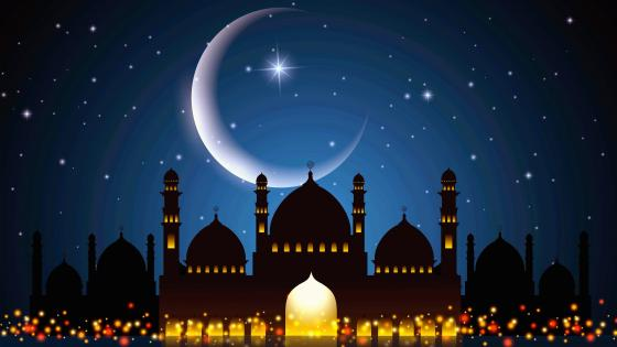 Mosque And Moon During Ramadan wallpaper