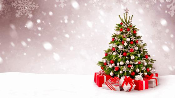 Christmas Tree And Gifts wallpaper