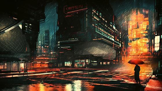 Rainy night in the city fantasy art wallpaper