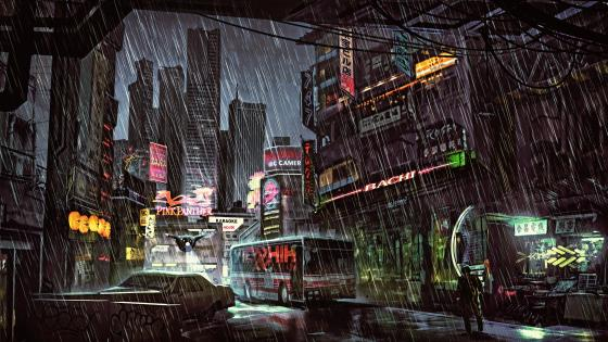 Rainy night drawing wallpaper