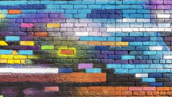 Colorful brick wall wallpaper