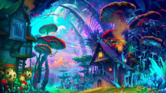 Illuminating mushrooms in a magical forest wallpaper