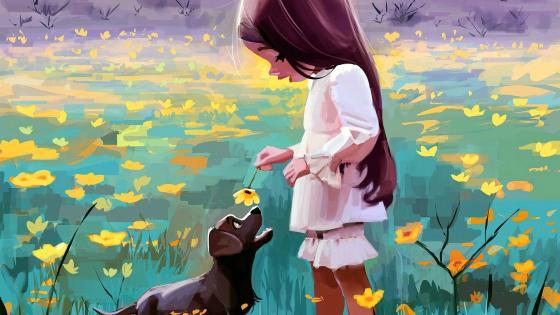 Girl Dog And Flower Illustration wallpaper