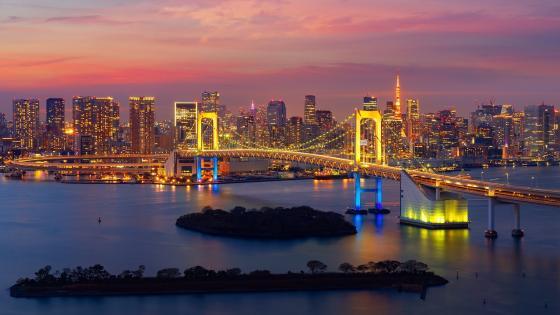 Rainbow Bridge at evening (Japan) wallpaper