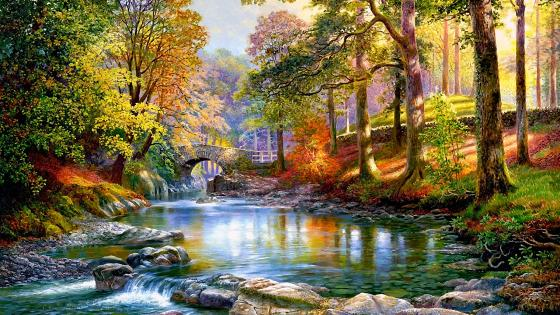 Along The River Painting wallpaper