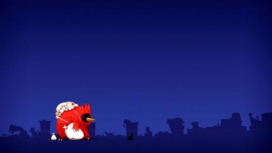 Night Minimalism Angry Birds Dark wallpaper