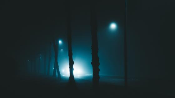 Hazy street at night wallpaper