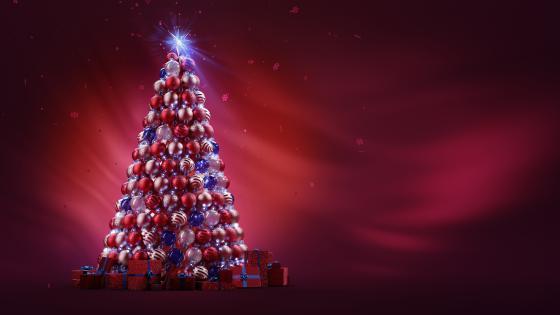 Christmas balls tree wallpaper