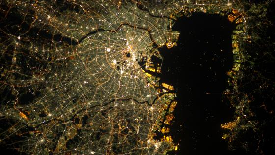 Tokyo at Night Viewed from the International Space Station wallpaper