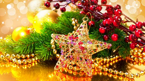 Golden christmas decoration wallpaper