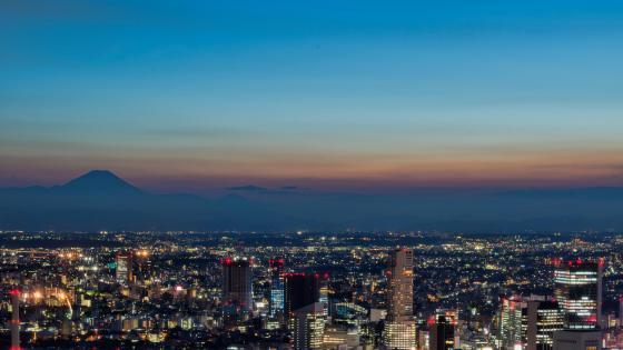 Tokyo Cityscape & Mount Fuji wallpaper